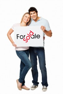 Couple Holding Sign - Isolated
